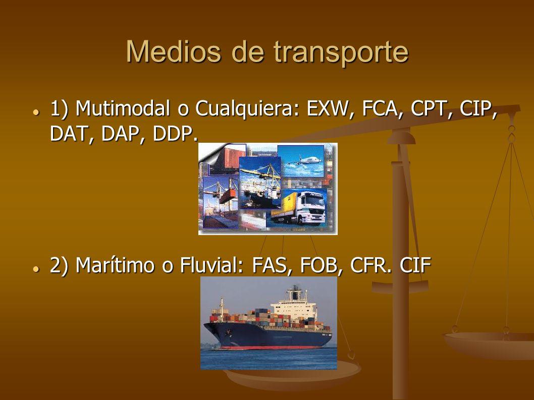 Medios de transporte 1) Mutimodal o Cualquiera: EXW, FCA, CPT, CIP, DAT, DAP, DDP. 1) Mutimodal o Cualquiera: EXW, FCA, CPT, CIP, DAT, DAP, DDP. 2) Ma