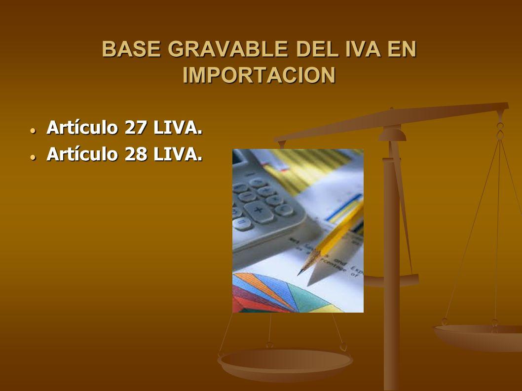 BASE GRAVABLE DEL IVA EN IMPORTACION Artículo 27 LIVA. Artículo 27 LIVA. Artículo 28 LIVA. Artículo 28 LIVA.