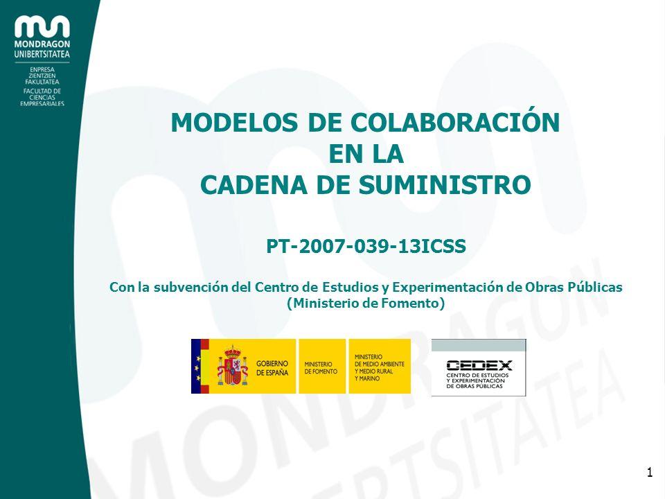 1 MODELOS DE COLABORACIÓN EN LA CADENA DE SUMINISTRO PT-2007-039-13ICSS Con la subvención del Centro de Estudios y Experimentación de Obras Públicas (
