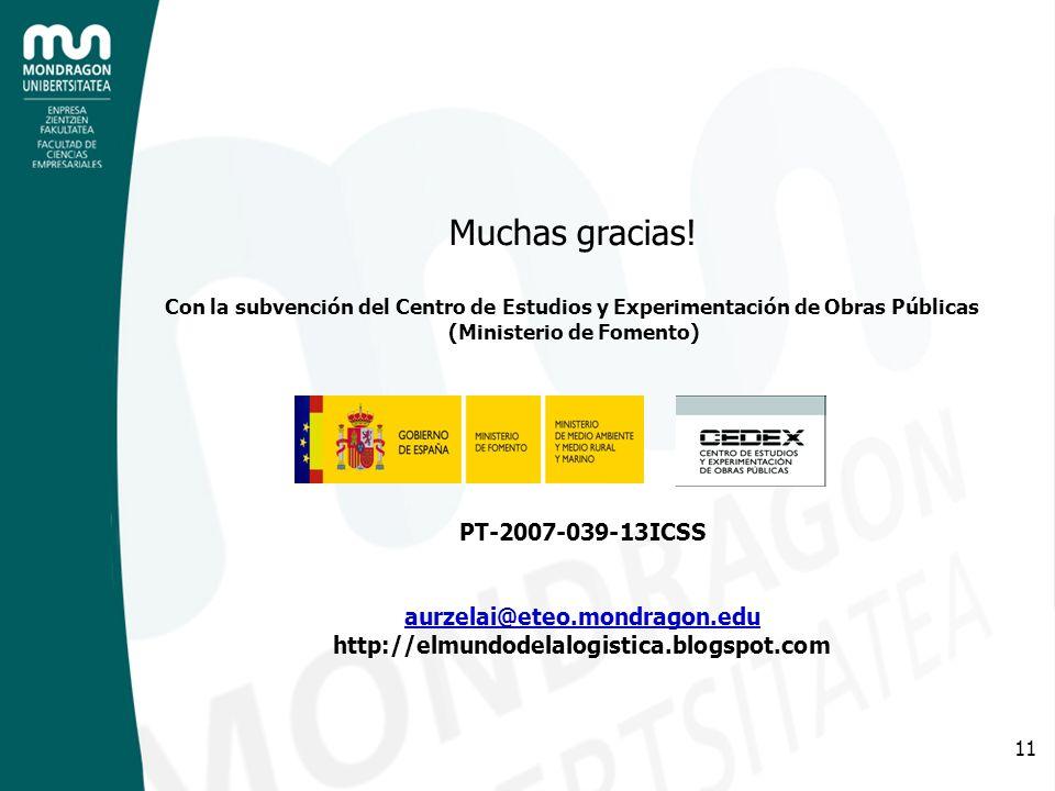 11 Muchas gracias! Con la subvención del Centro de Estudios y Experimentación de Obras Públicas (Ministerio de Fomento) PT-2007-039-13ICSS aurzelai@et