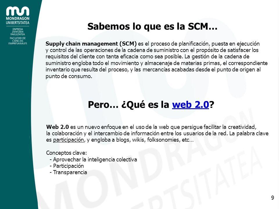 9 Sabemos lo que es la SCM… Supply chain management (SCM) es el proceso de planificación, puesta en ejecución y control de las operaciones de la caden