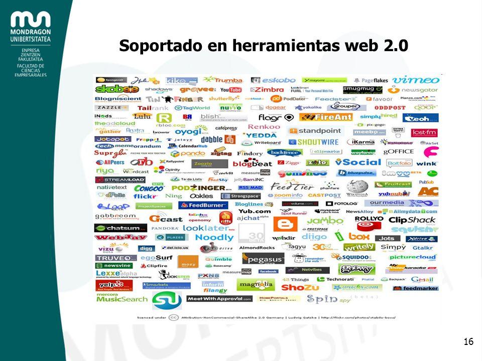 16 Soportado en herramientas web 2.0