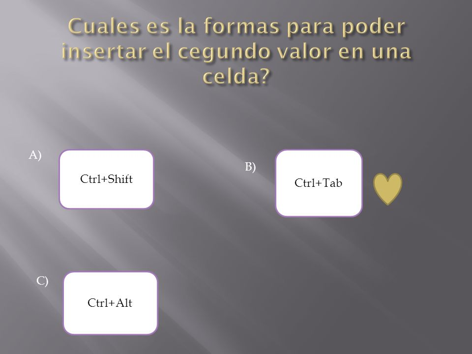 A) Ctrl+Tab Ctrl+Shift Ctrl+Alt B) C)