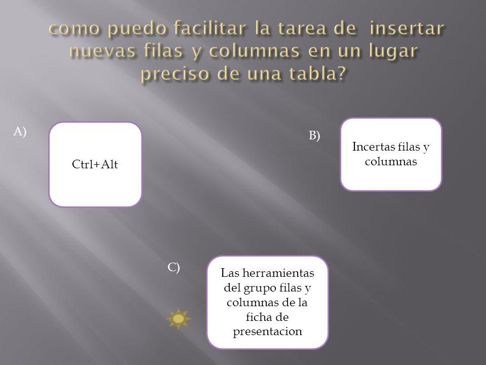 A) Incertas filas y columnas Ctrl+Alt Las herramientas del grupo filas y columnas de la ficha de presentacion C) B)