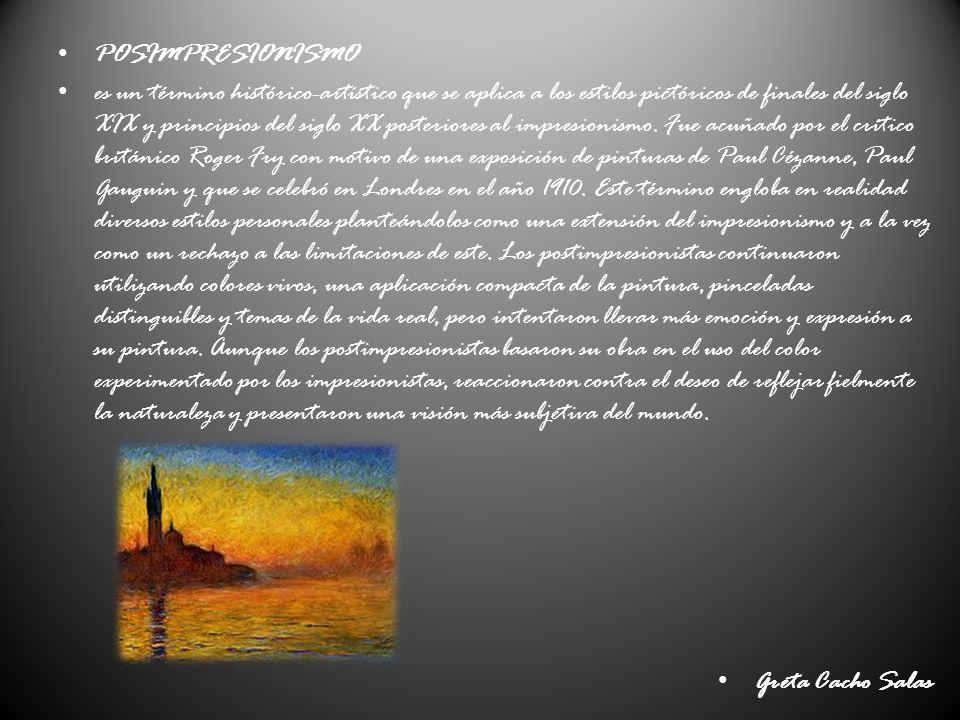 POSIMPRESIONISMO es un término histórico-artístico que se aplica a los estilos pictóricos de finales del siglo XIX y principios del siglo XX posteriores al impresionismo.