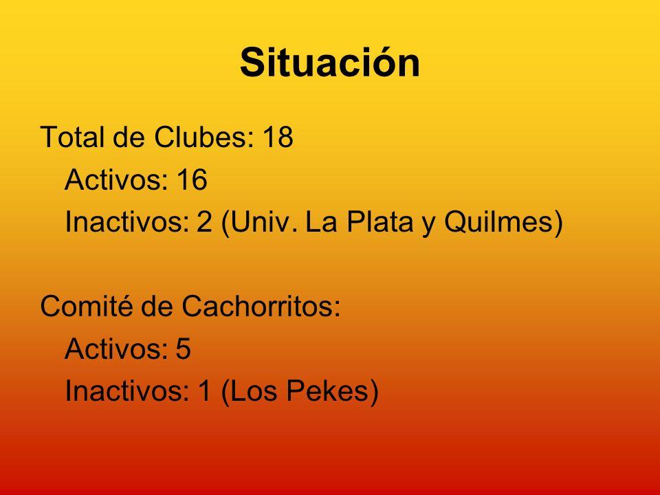 Situación Total de Clubes: 18 Activos: 16 Inactivos: 2 (Univ.
