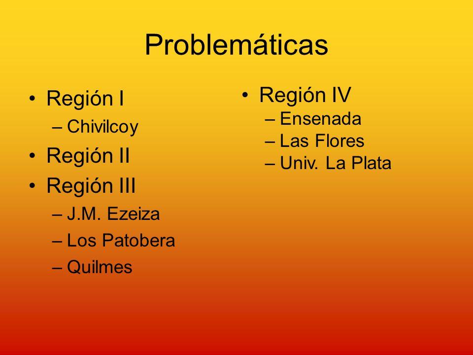 Problemáticas Región I –Chivilcoy Región II Región III –J.M.