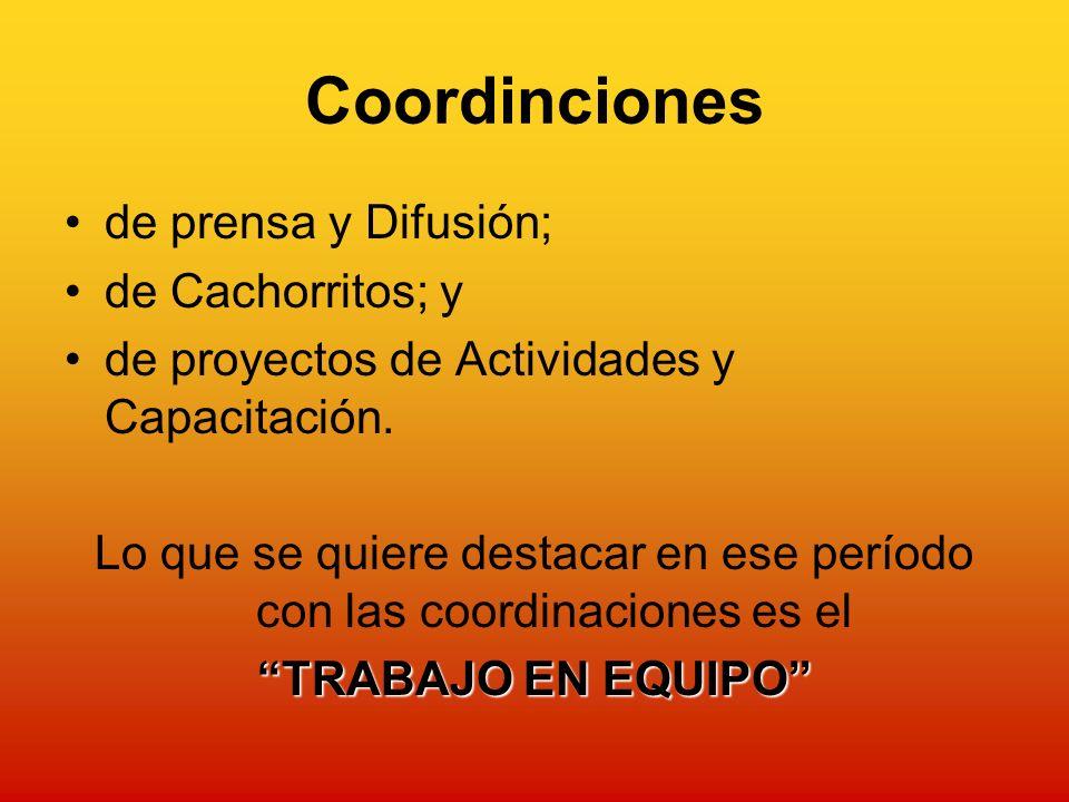 Coordinciones de prensa y Difusión; de Cachorritos; y de proyectos de Actividades y Capacitación.