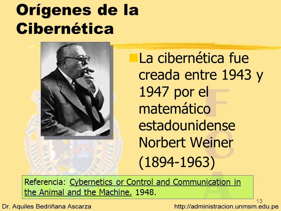 13 Orígenes de la Cibernética nLa cibernética fue creada entre 1943 y 1947 por el matemático estadounidense Norbert Weiner (1894-1963) Referencia: Cyb