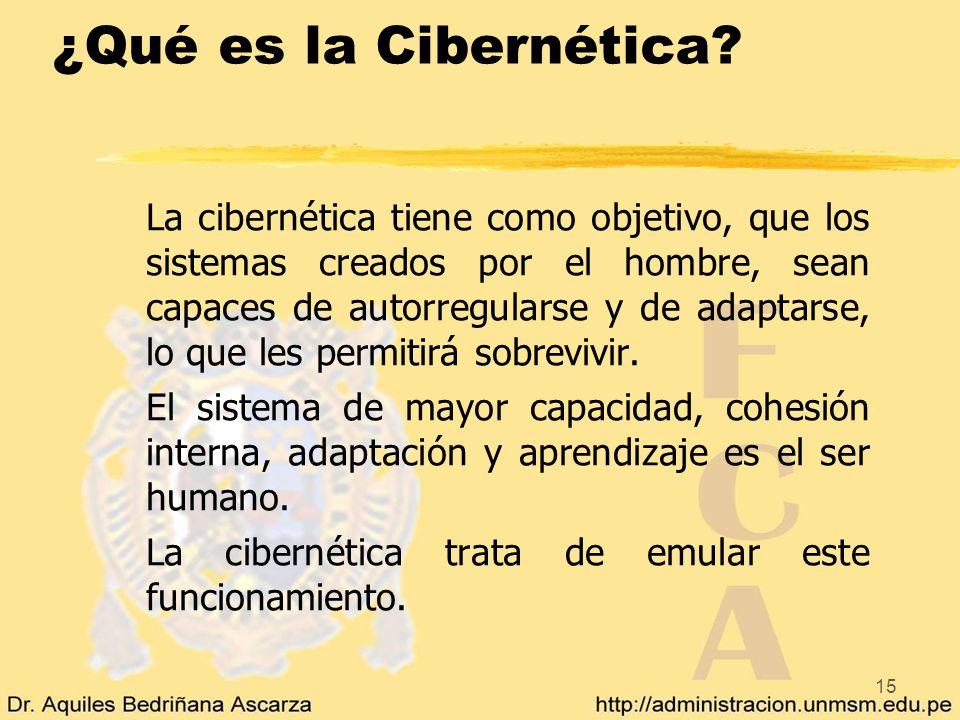 15 ¿Qué es la Cibernética? La cibernética tiene como objetivo, que los sistemas creados por el hombre, sean capaces de autorregularse y de adaptarse,