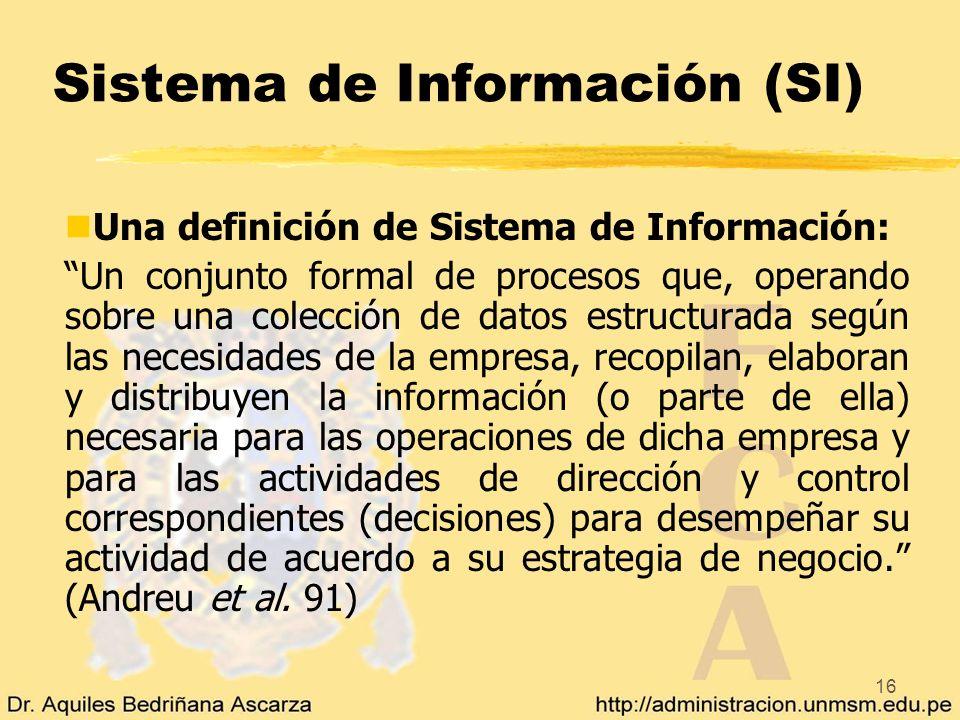 16 Sistema de Información (SI) nUna definición de Sistema de Información: Un conjunto formal de procesos que, operando sobre una colección de datos es