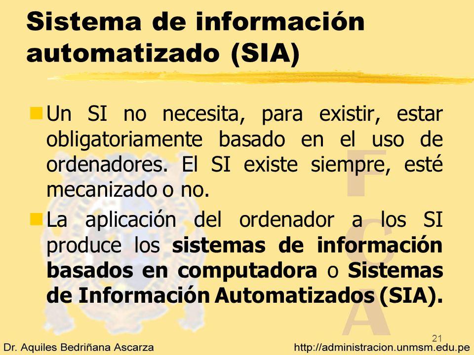 21 Sistema de información automatizado (SIA) nUn SI no necesita, para existir, estar obligatoriamente basado en el uso de ordenadores. El SI existe si