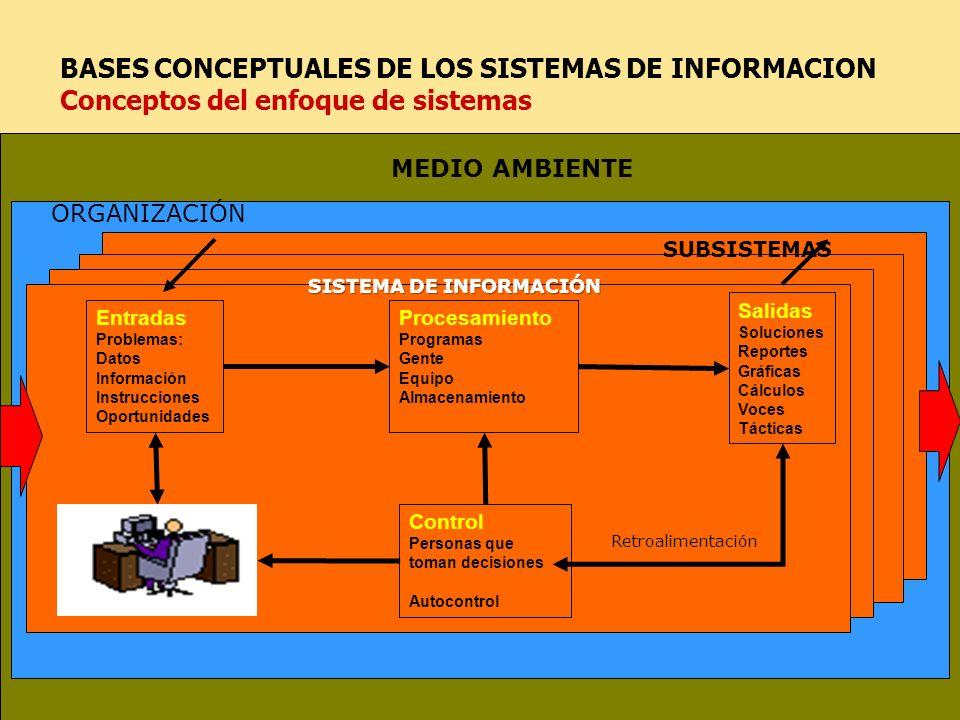 29 BASES CONCEPTUALES DE LOS SISTEMAS DE INFORMACION Conceptos del enfoque de sistemas Entradas Problemas: Datos Información Instrucciones Oportunidad
