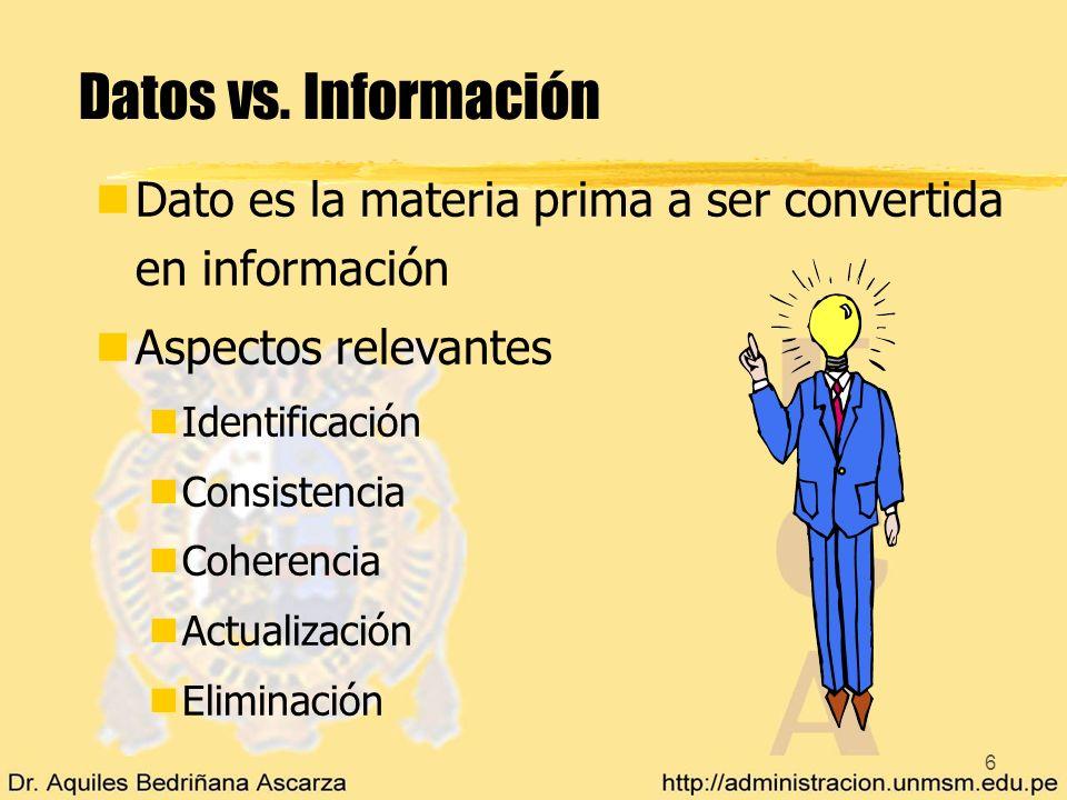 6 Datos vs. Información nDato es la materia prima a ser convertida en información nAspectos relevantes nIdentificación nConsistencia nCoherencia nActu