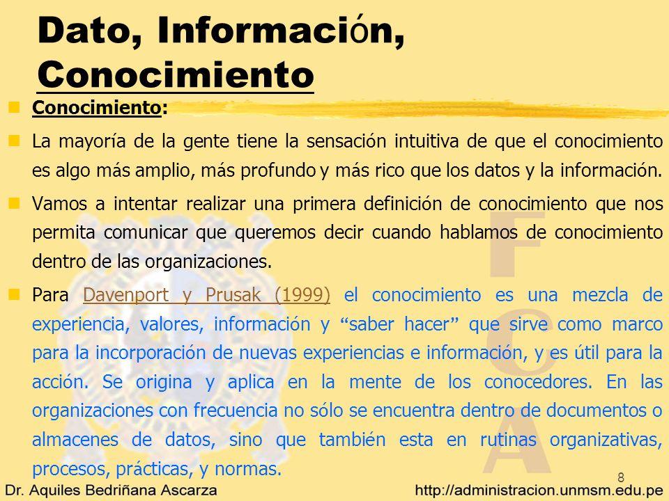 8 Dato, Informaci ó n, Conocimiento nConocimiento: La mayor í a de la gente tiene la sensaci ó n intuitiva de que el conocimiento es algo m á s amplio