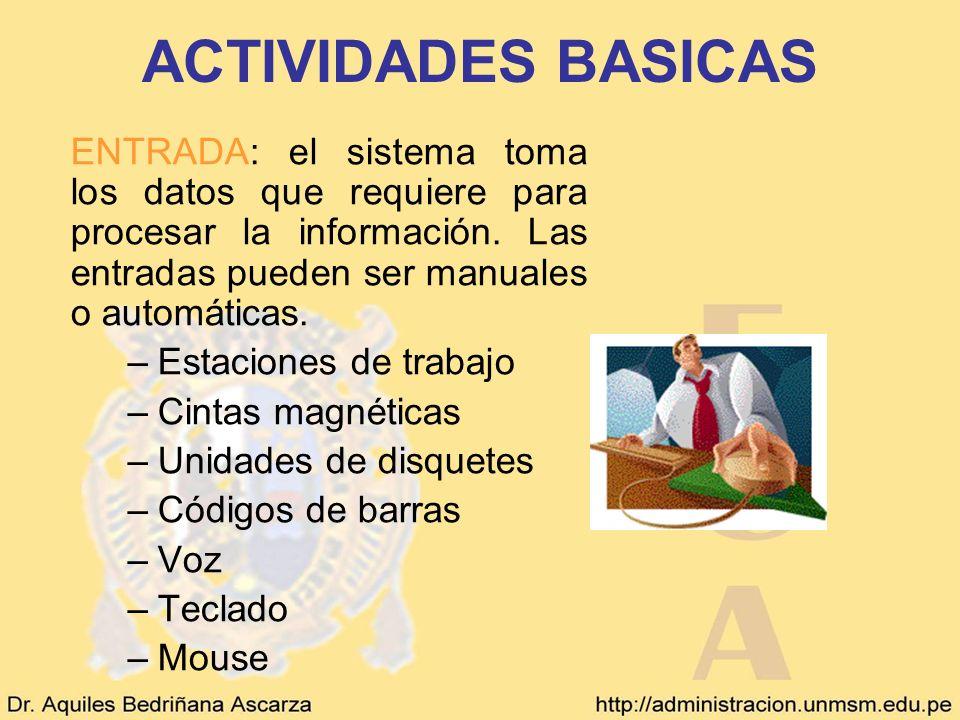 ACTIVIDADES BASICAS ENTRADA: el sistema toma los datos que requiere para procesar la información. Las entradas pueden ser manuales o automáticas. –Est
