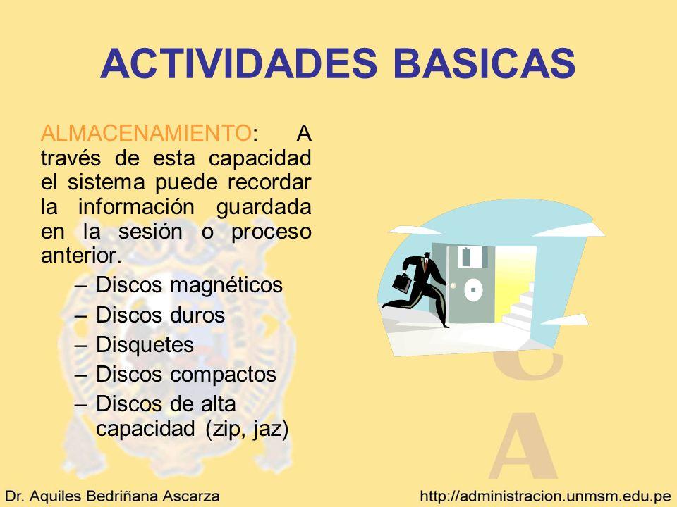 ACTIVIDADES BASICAS ALMACENAMIENTO: A través de esta capacidad el sistema puede recordar la información guardada en la sesión o proceso anterior. –Dis