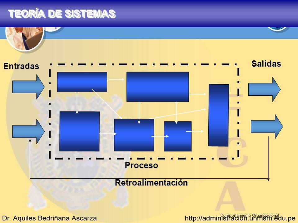 Comportamiento Organizacional Salidas Entradas Retroalimentación Proceso TEORÍA DE SISTEMAS