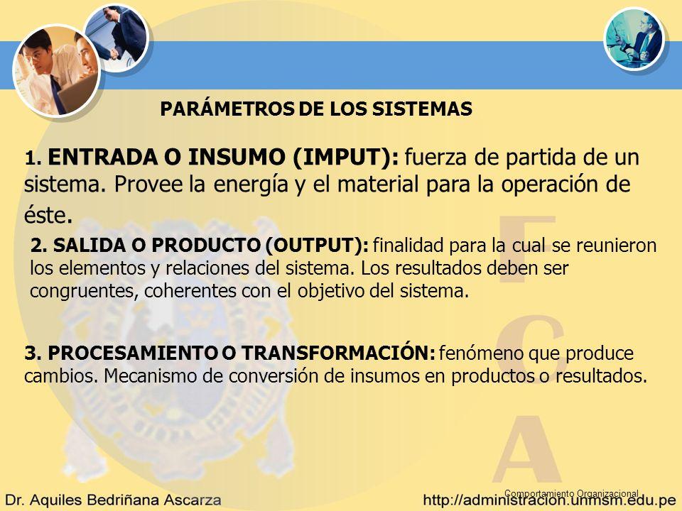 Comportamiento Organizacional PARÁMETROS DE LOS SISTEMAS 1. ENTRADA O INSUMO (IMPUT): fuerza de partida de un sistema. Provee la energía y el material