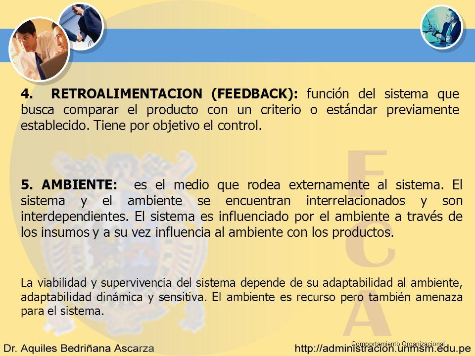 Comportamiento Organizacional 4. RETROALIMENTACION (FEEDBACK): función del sistema que busca comparar el producto con un criterio o estándar previamen