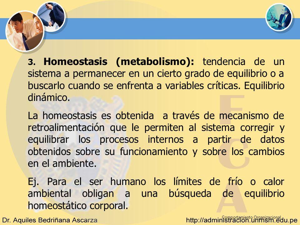Comportamiento Organizacional 3. Homeostasis (metabolismo): tendencia de un sistema a permanecer en un cierto grado de equilibrio o a buscarlo cuando
