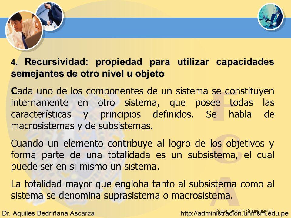 Comportamiento Organizacional 4. Recursividad: propiedad para utilizar capacidades semejantes de otro nivel u objeto Cada uno de los componentes de un
