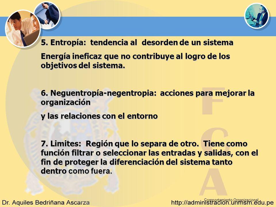 Comportamiento Organizacional 5. Entropía: tendencia al desorden de un sistema Energía ineficaz que no contribuye al logro de los objetivos del sistem