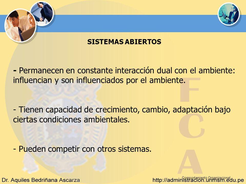Comportamiento Organizacional SISTEMAS ABIERTOS - Permanecen en constante interacción dual con el ambiente: influencian y son influenciados por el amb