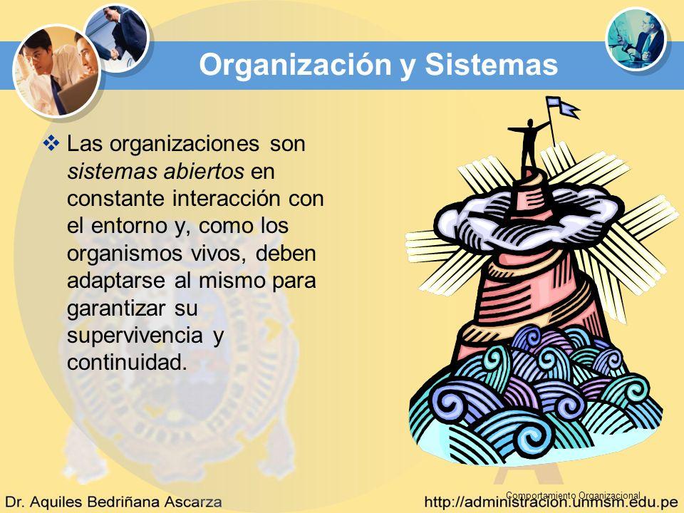 Comportamiento Organizacional Organización y Sistemas Las organizaciones son sistemas abiertos en constante interacción con el entorno y, como los org