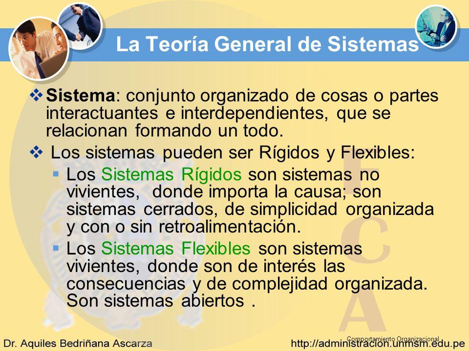 Comportamiento Organizacional La Teoría General de Sistemas Sistema: conjunto organizado de cosas o partes interactuantes e interdependientes, que se