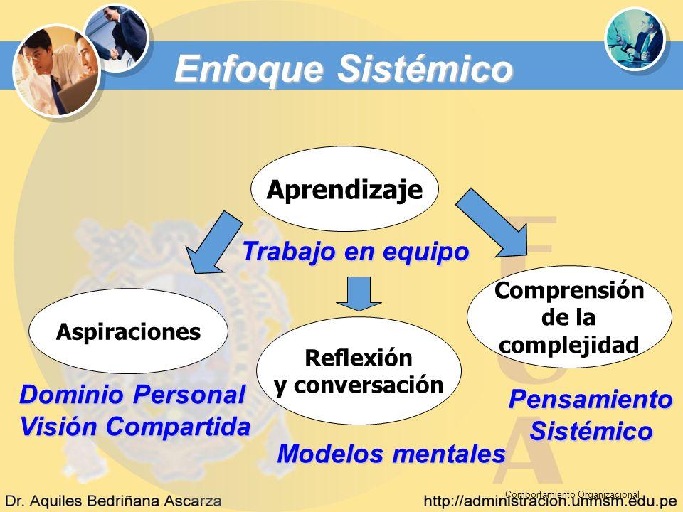 Comportamiento Organizacional Aprendizaje Trabajo en equipo Aspiraciones Reflexión y conversación Comprensión de la complejidad Dominio Personal Visió