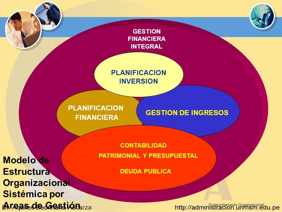 Comportamiento Organizacional Modelo de Estructura Organizacional Sistémica por Areas de Gestión GESTION FINANCIERA INTEGRAL PLANIFICACION FINANCIERA