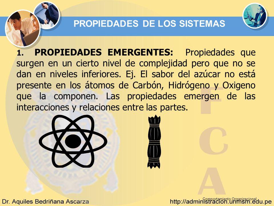 Comportamiento Organizacional 1. PROPIEDADES EMERGENTES: Propiedades que surgen en un cierto nivel de complejidad pero que no se dan en niveles inferi