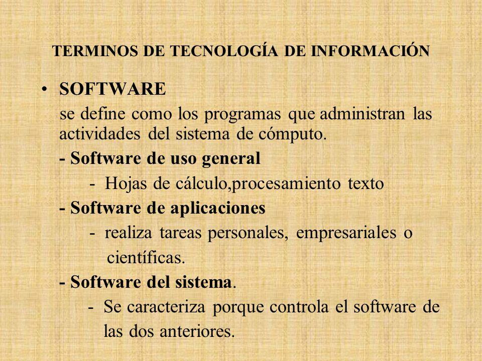 TERMINOS DE TECNOLOGÍA DE INFORMACIÓN SOFTWARE se define como los programas que administran las actividades del sistema de cómputo. - Software de uso