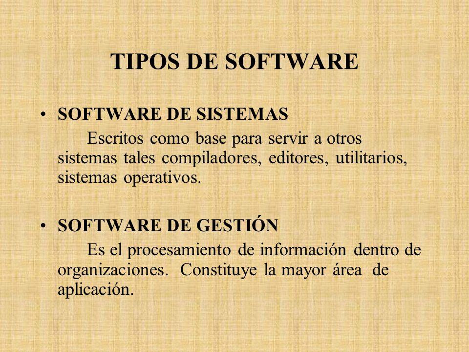 TIPOS DE SOFTWARE SOFTWARE DE SISTEMAS Escritos como base para servir a otros sistemas tales compiladores, editores, utilitarios, sistemas operativos.