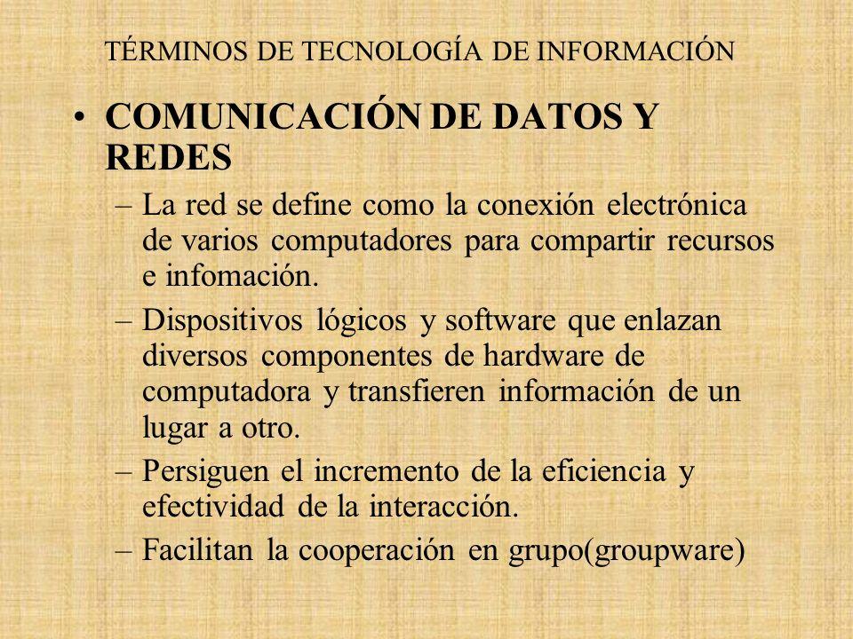TÉRMINOS DE TECNOLOGÍA DE INFORMACIÓN COMUNICACIÓN DE DATOS Y REDES –La red se define como la conexión electrónica de varios computadores para compart