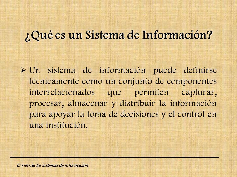 ¿Qué es un Sistema de Información? Un sistema de información puede definirse técnicamente como un conjunto de componentes interrelacionados que permit