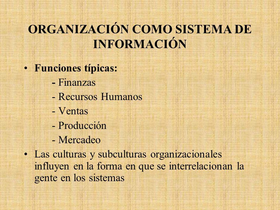 ORGANIZACIÓN COMO SISTEMA DE INFORMACIÓN Funciones típicas: - Finanzas - Recursos Humanos - Ventas - Producción - Mercadeo Las culturas y subculturas