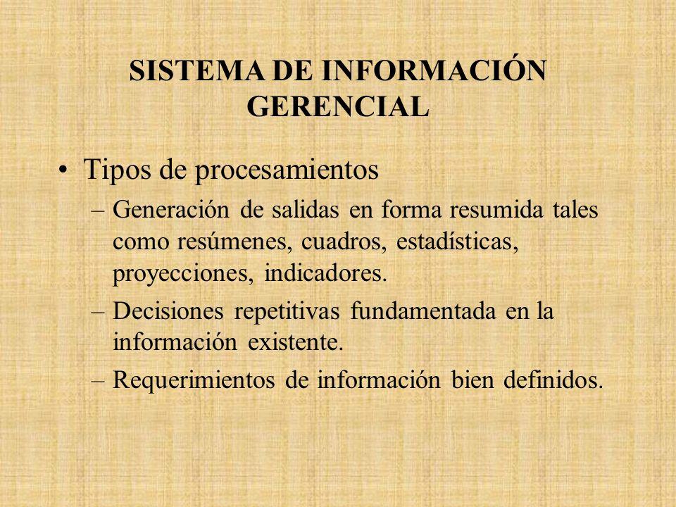 SISTEMA DE INFORMACIÓN GERENCIAL Tipos de procesamientos –Generación de salidas en forma resumida tales como resúmenes, cuadros, estadísticas, proyecc