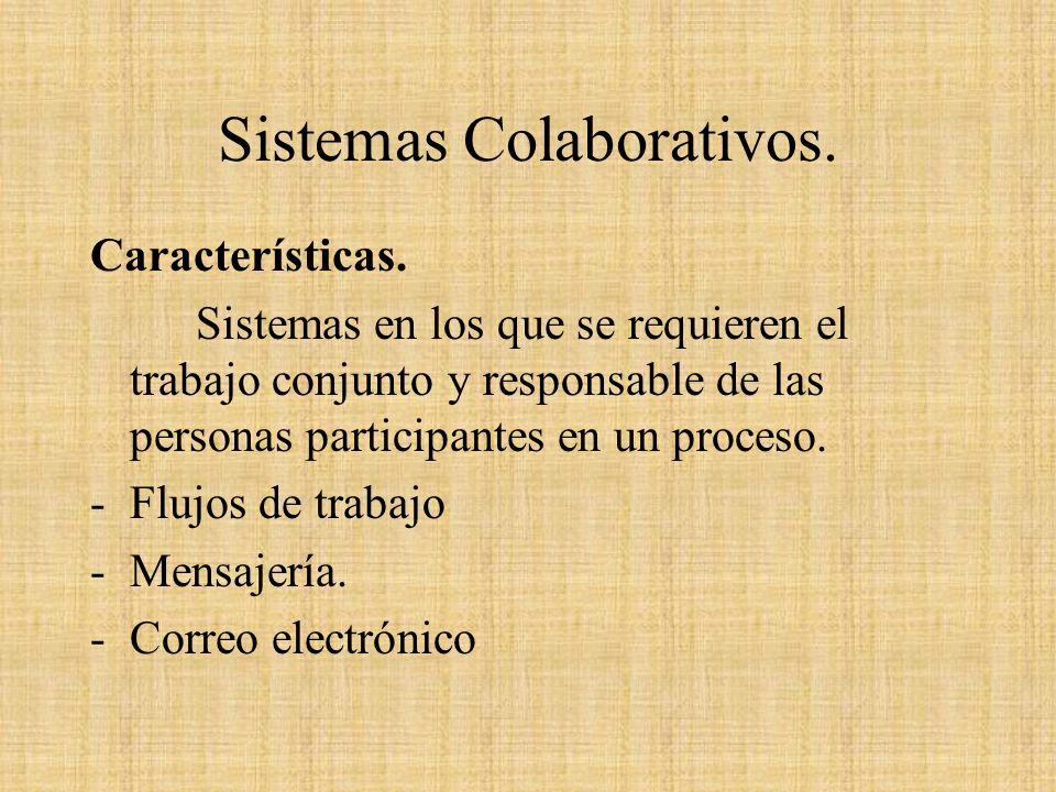 Sistemas Colaborativos. Características. Sistemas en los que se requieren el trabajo conjunto y responsable de las personas participantes en un proces