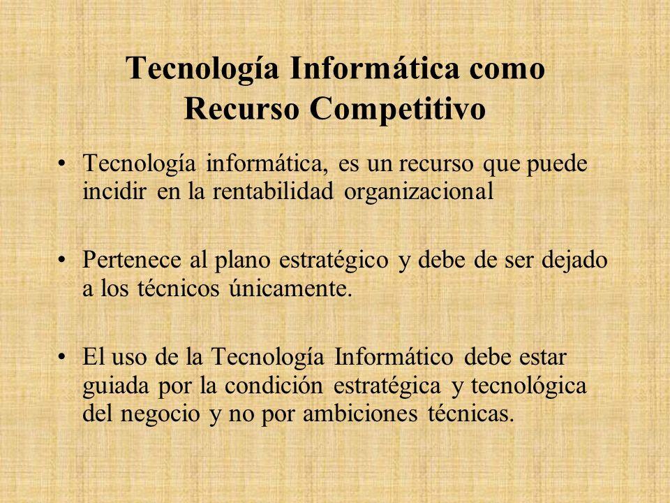 Tecnología Informática como Recurso Competitivo Tecnología informática, es un recurso que puede incidir en la rentabilidad organizacional Pertenece al