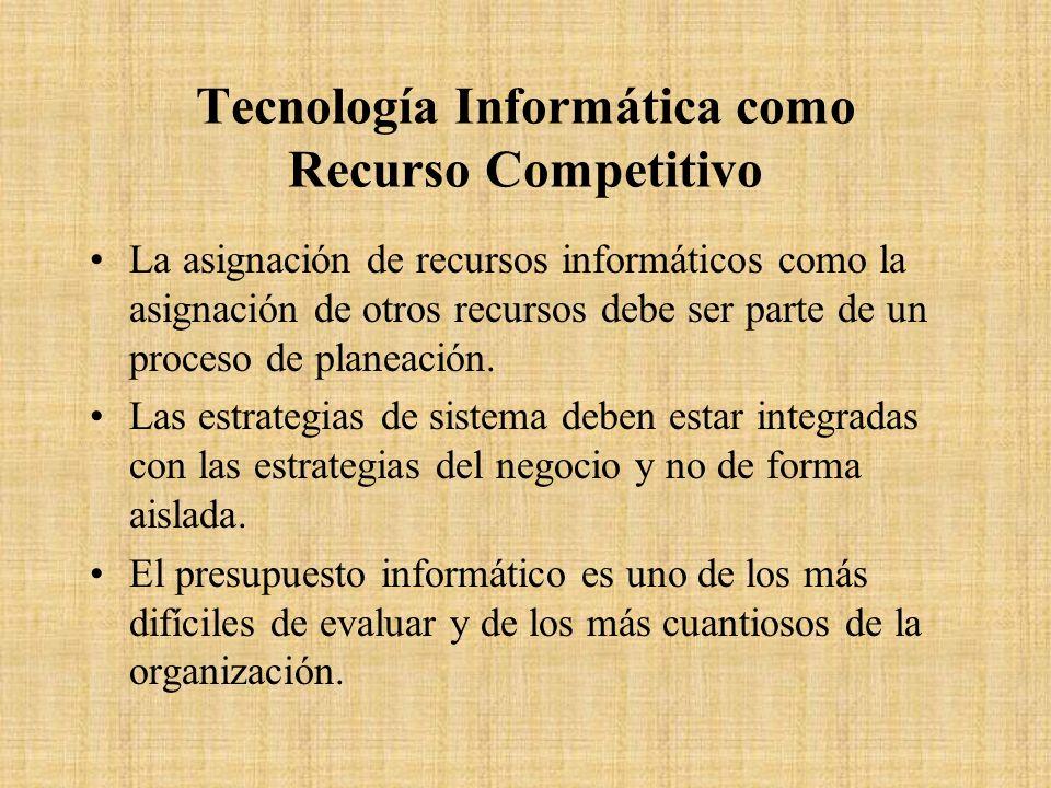 Tecnología Informática como Recurso Competitivo La asignación de recursos informáticos como la asignación de otros recursos debe ser parte de un proce