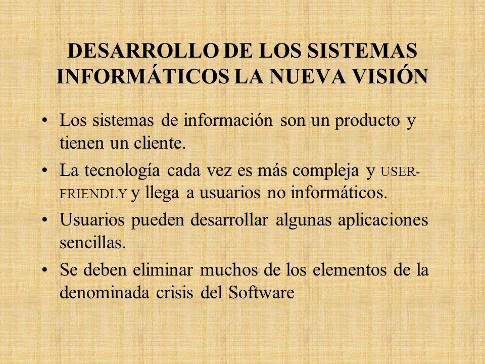 DESARROLLO DE LOS SISTEMAS INFORMÁTICOS LA NUEVA VISIÓN Los sistemas de información son un producto y tienen un cliente. La tecnología cada vez es más