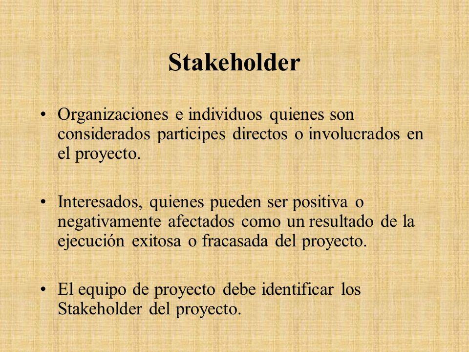 Stakeholder Organizaciones e individuos quienes son considerados participes directos o involucrados en el proyecto. Interesados, quienes pueden ser po