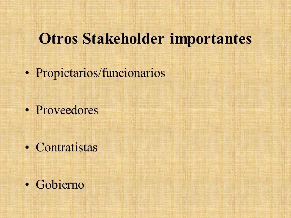 Otros Stakeholder importantes Propietarios/funcionarios Proveedores Contratistas Gobierno