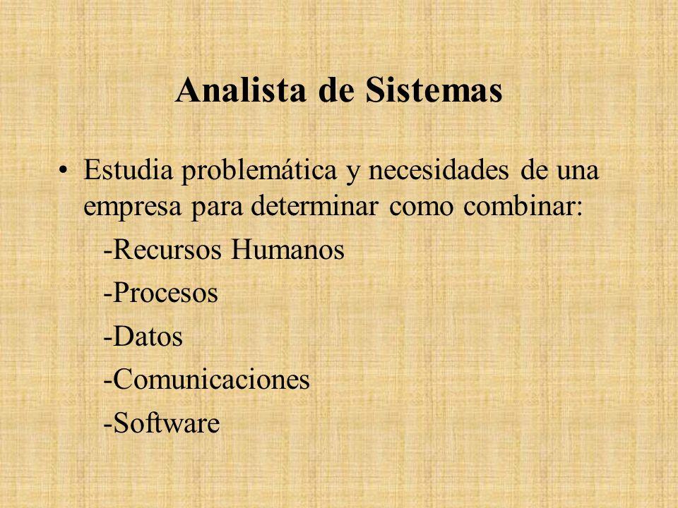 Analista de Sistemas Estudia problemática y necesidades de una empresa para determinar como combinar: -Recursos Humanos -Procesos -Datos -Comunicacion