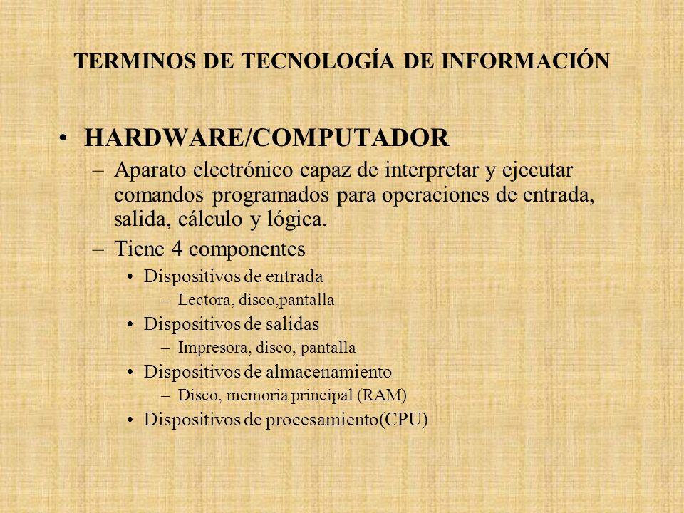 TERMINOS DE TECNOLOGÍA DE INFORMACIÓN HARDWARE/COMPUTADOR –Aparato electrónico capaz de interpretar y ejecutar comandos programados para operaciones d