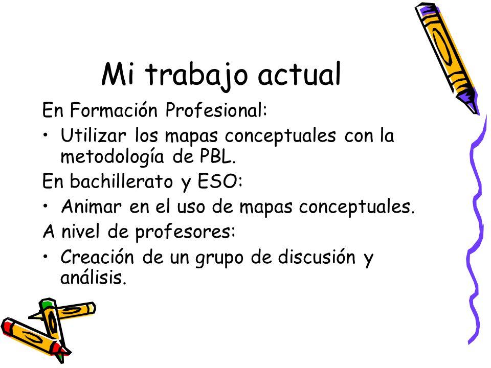 Mi trabajo actual En Formación Profesional: Utilizar los mapas conceptuales con la metodología de PBL. En bachillerato y ESO: Animar en el uso de mapa