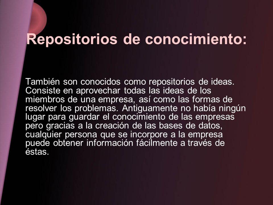 Repositorios de conocimiento: También son conocidos como repositorios de ideas. Consiste en aprovechar todas las ideas de los miembros de una empresa,