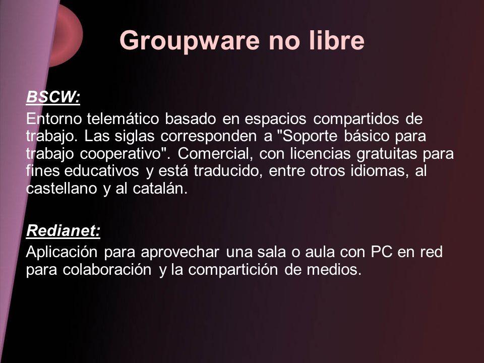 Groupware no libre BSCW: Entorno telemático basado en espacios compartidos de trabajo. Las siglas corresponden a